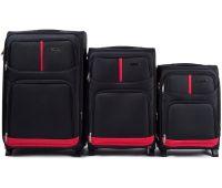 Набор чемоданов Wings 206 3 штуки на 2-х колесах черный