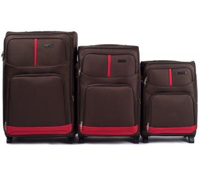 Набор чемоданов Wings 206 3 штуки на 2-х колесах коричневый