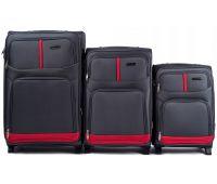 Набор чемоданов Wings 206 3 штуки на 2-х колесах серый