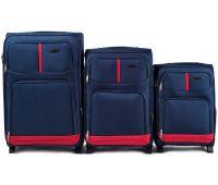 Набор чемоданов Wings 206 3 штуки на 2-х колесах синий