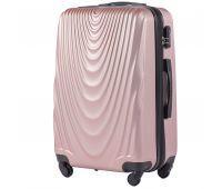 Пластиковый чемодан на колесах Wings 304 большой розовое золото
