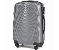 Пластиковый чемодан на колесах Wings 304 маленький серебряный