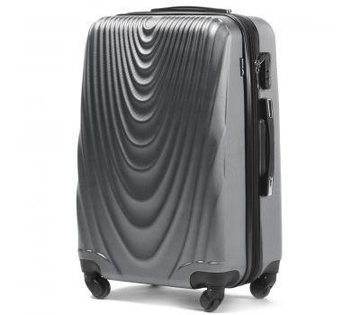 Пластиковый чемодан на колесах Wings 304 средний серебряный