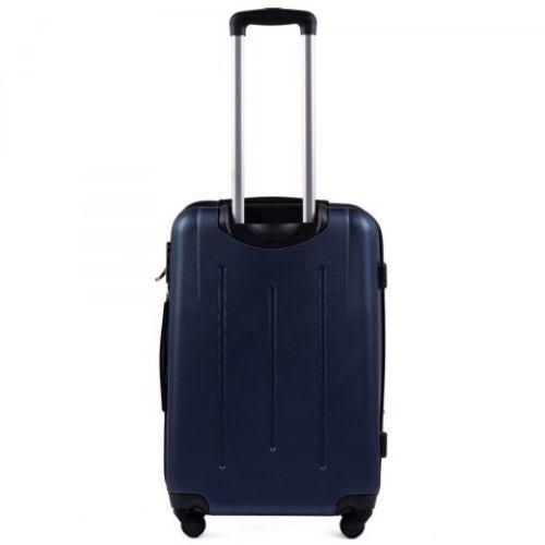 Пластиковый чемодан на колесах Wings 304 средний темно-синий