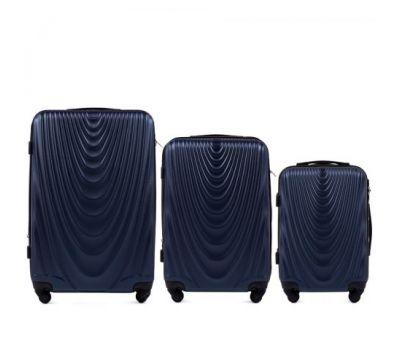 Набор чемоданов на колесах Wings 304 3 штуки темно-синий