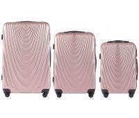 Набор чемоданов на колесах Wings 304 3 штуки розовое золото