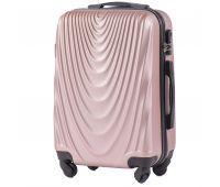 Пластиковый чемодан на колесах Wings 304 маленький розовое золото