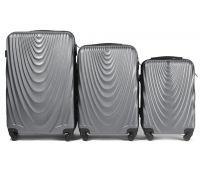 Набор чемоданов на колесах Wings 304 3 штуки серебряный