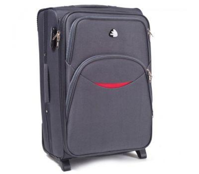 Тканевый чемодан Wings 1708 большой на 2 колесах серый