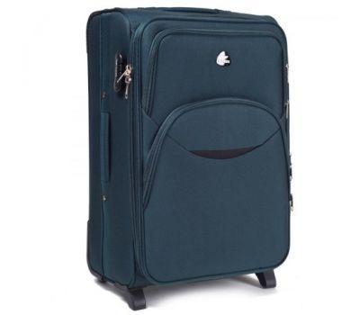 Тканевый чемодан Wings 1708 большой на 2 колесах изумрудный