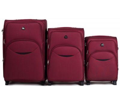 Набор тканевых чемоданов Wings 1708 3 штуки на 2 колесах бордовый