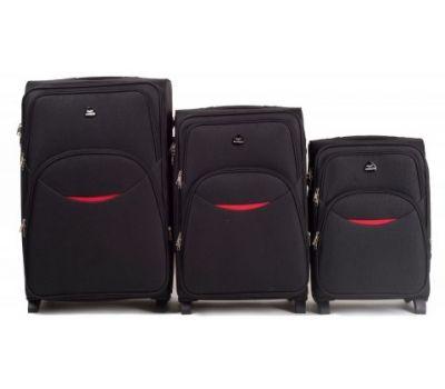 Набор тканевых чемоданов Wings 1708 3 штуки на 2 колесах черный