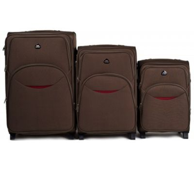 Набор тканевых чемоданов Wings 1708 3 штуки на 2 колесах кофейный