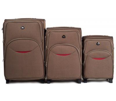 Набор тканевых чемоданов Wings 1708 3 штуки на 2 колесах коричневый