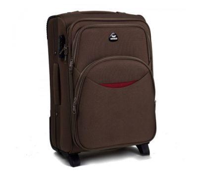 Тканевый чемодан Wings 1708 маленький на 2 колесах кофейный