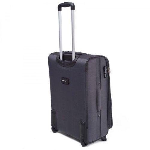 Тканевый чемодан Wings 1708 маленький на 2 колесах серый