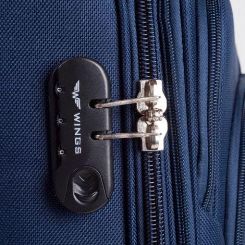 Тканевый чемодан Wings 1708 средний на 2 колесах изумрудный