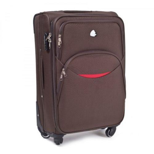 Набор тканевых чемоданов Wings 1708 3 штуки на 4 колесах кофейный