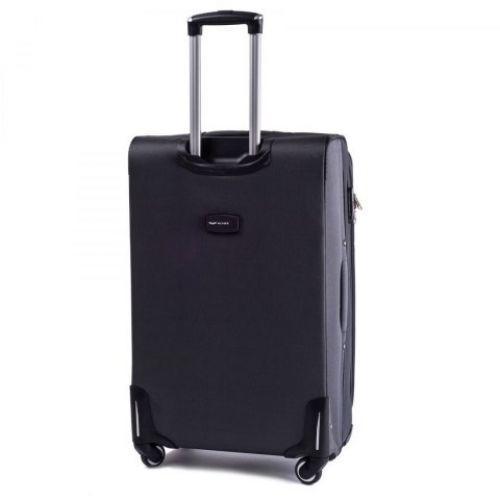 Тканевый чемодан Wings 1708 большой на 4 колесах серый
