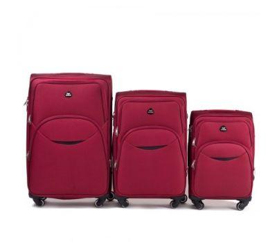 Набор тканевых чемоданов Wings 1708 3 штуки на 4 колесах красный