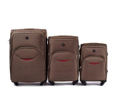 Набор тканевых чемоданов Wings 1708 3 штуки на 4 колесах коричневый
