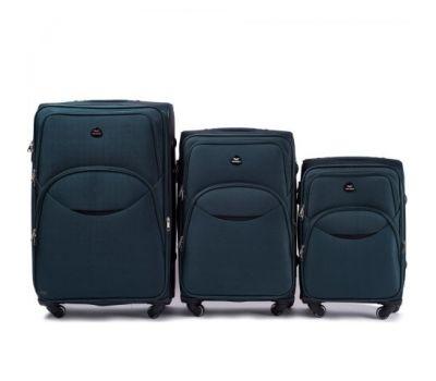 Набор тканевых чемоданов Wings 1708 3 штуки на 4 колесах изумрудный