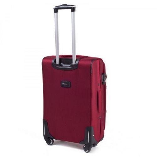 Тканевый чемодан Wings 1708 маленький на 4 колесах красный