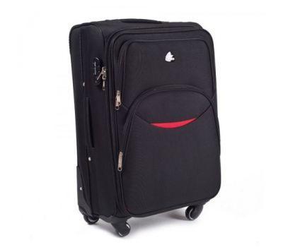 Тканевый чемодан Wings 1708 маленький на 4 колесах черный