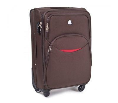 Тканевый чемодан Wings 1708 маленький на 4 колесах кофейный