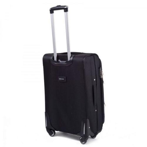 Тканевый чемодан Wings 1708 средний на 4 колесах черный