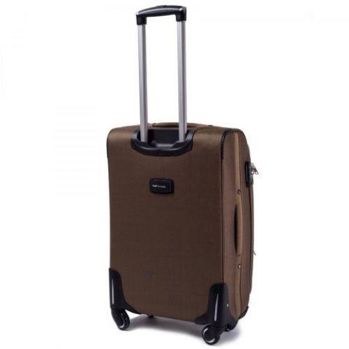Тканевый чемодан Wings 1708 средний на 4 колесах коричневый