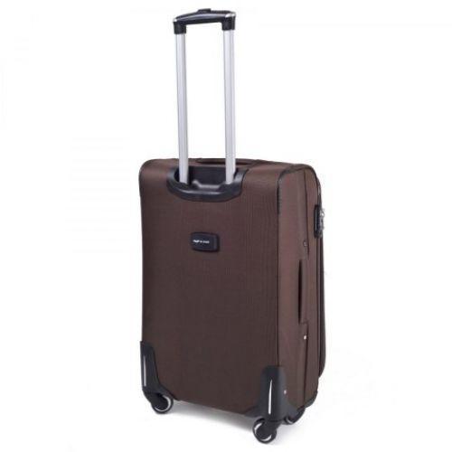 Тканевый чемодан Wings 1708 большой на 4 колесах кофейный
