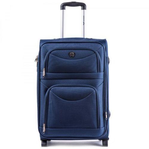 Набор тканевых чемоданов Wings 6802 3 штуки на 2-х колесах синий