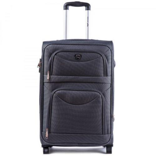 Тканевый чемодан Wings 6802 большой на 2 колесах серый