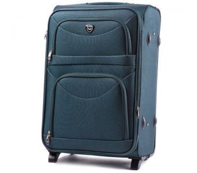 Тканевый чемодан Wings 6802 большой на 2 колесах зеленый