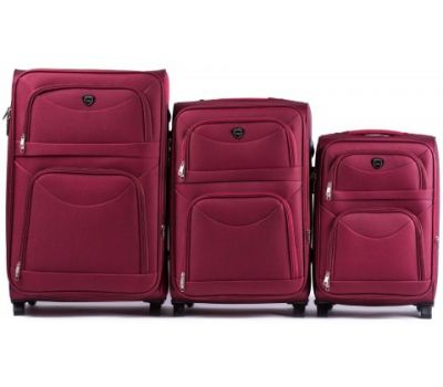 Набор тканевых чемоданов Wings 6802 3 штуки на 2-х колесах бордовый