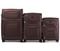 Набор тканевых чемоданов Wings 6802 3 штуки на 2-х колесах кофейный