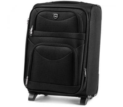 Тканевый чемодан Wings 6802 маленький на 2-х колесах черный