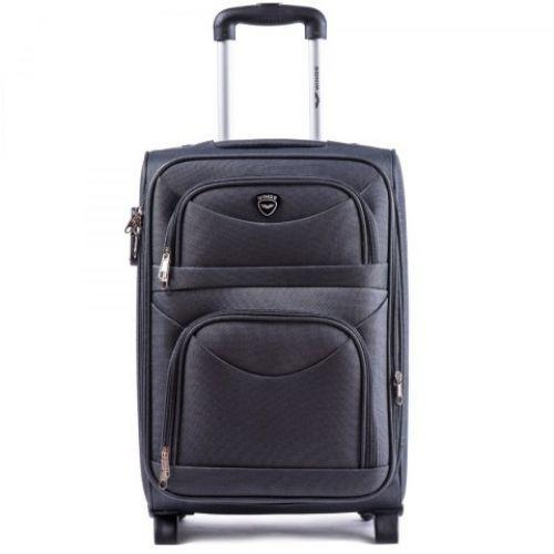 Тканевый чемодан Wings 6802 маленький на 2-х колесах серый