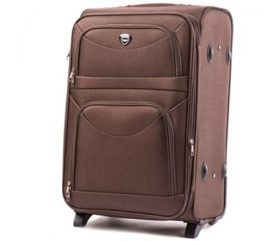 Тканевый чемодан Wings 6802 средний на 2-х колесах кофейный