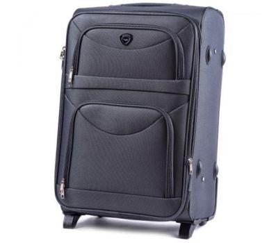 Тканевый чемодан Wings 6802 средний на 2-х колесах серый