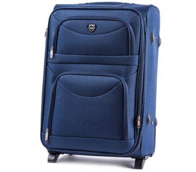 Тканевый чемодан Wings 6802 большой на 2 колесах синий
