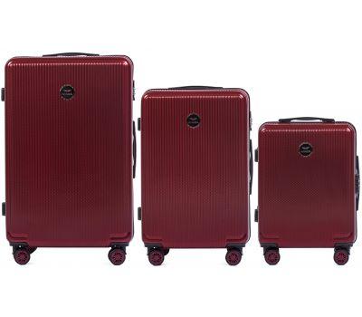 Набор чемоданов из поликарбоната Wings African 565 3 штуки бордовый