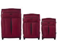 Набор тканевых чемоданов Wings Barn Owl 1601 3 штуки на 2 колесах красный