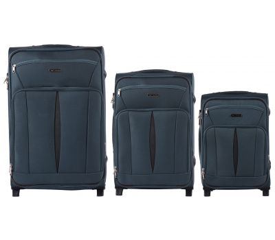 Набор тканевых чемоданов Wings Barn Owl 1601 3 штуки на 2 колесах изумрудный