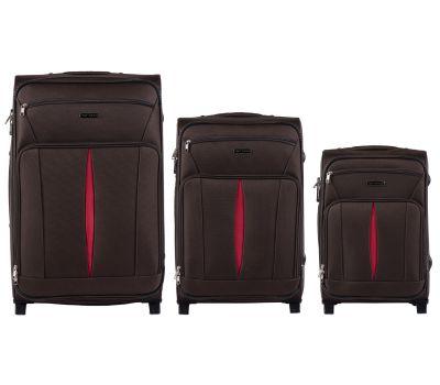 Набор тканевых чемоданов Wings Barn Owl 1601 3 штуки на 2 колесах кофейный