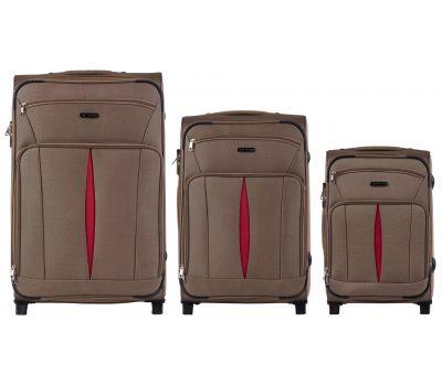 Набор тканевых чемоданов Wings Barn Owl 1601 3 штуки на 2 колесах коричневый