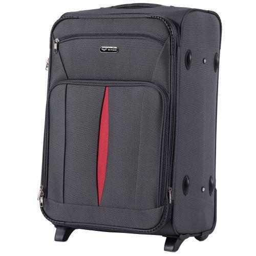 Набор тканевых чемоданов Wings Barn Owl 1601 3 штуки на 2 колесах серый