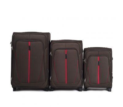 Набор тканевых чемоданов Wings Buzzard 1706 3 штуки на 2 колесах кофейный