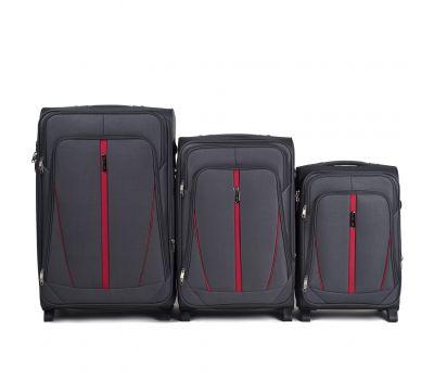 Набор тканевых чемоданов Wings Buzzard 1706 3 штуки на 2 колесах серый